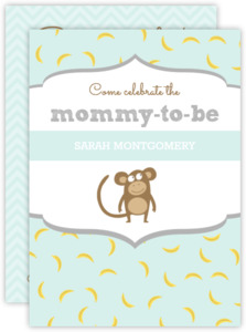 Pastel Color Monkey Baby Shower Invitation