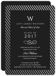 Silver Foil Stripe Frame Formal Law School Graduation Invitation