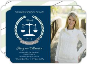 Mint Formal Laurel Wreath Law School Graduation Invitation
