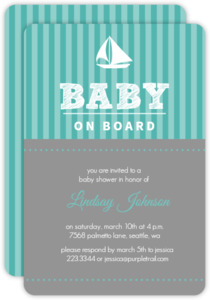 Stripe Sail Boat Neutral Baby Shower Invite