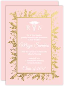 Pink & Gold Foil Foliage Nursing School Graduation Invitation