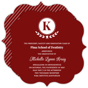 Red Elegant Laural Wreath Monogram Dental Graduation invitation