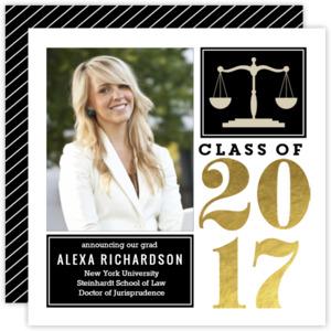 Gold Foil Block Law School Graduation Announcement