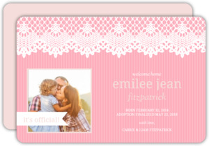 Pink Stripes and Lace Adoption Announcement