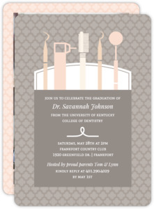 Modern Dentist Tools Dental School Graduation Invitation