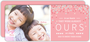 Twin Girls Pink Photo Adoption Announcement