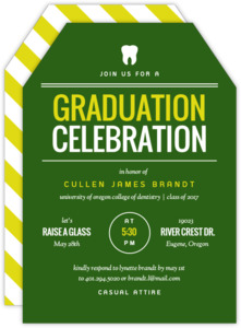 School Colors Typography Dental School Graduation Invitation