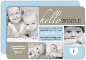 Hello World Blue Photo Boy Baby Announcement