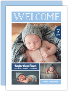 Light Blue Welcome Photo Boy Birth Announcement