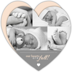 Gray Photo Heart Girl Baby Announcement