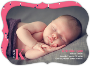 Sweet Monogram Photo Birth Announcement