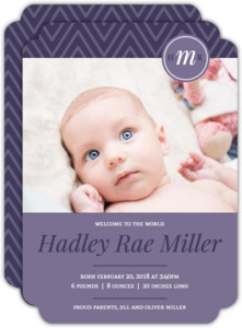 Purple Monogram Photo Girl Baby Announcement