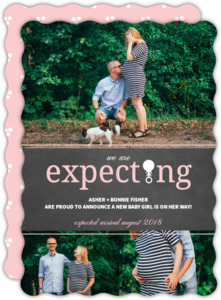 Black and White Polka Dot Pink Expecting Pregnancy Announcement
