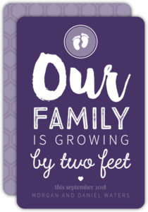Baby Feet Purple Pregnancy Announcement