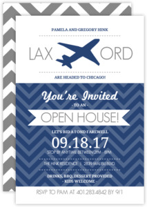 Blue Chevron Plane Farewell Open House Invitation