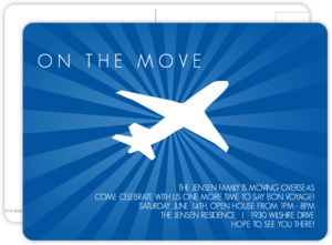 Seaside Blue Flying Plane Going Away Invitation