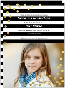 Modern Black & White Stripes And Gold Foil Confetti Bat Mitzvah Invitation