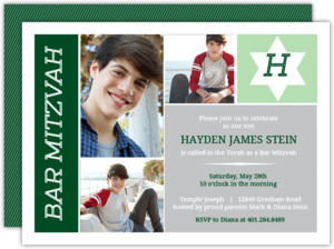 Monogram Star Photo Bar Mitzvah Invitation