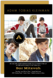 Multi Photo Monogram Bar Mitzvah Invitation
