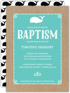 Baby Whale Baptism Invitation