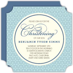 Blue Geometric Pattern Christening Invitation