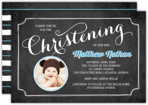 Chalkboard Photo Christening Invitation