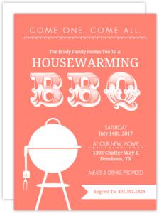 Coral Modern BBQ  set  Housewarming Invitation