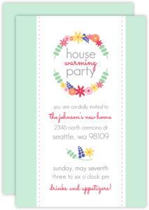 Floral Wreath Housewarming  set  Party Invitation