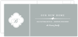 Gray And White Elegant Monogram Postcard Moving Announcement