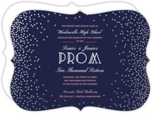 Silver Foil Confetti Frame Prom Invitation