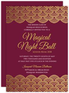 Elegant Gold Foil Scallop Prom Invitation