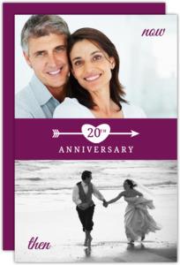 Flashback White Heart and Arrow 20th Anniversary Invitation