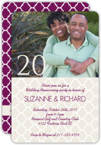 Quatrefoil Pattern 20th Anniversary Invitation