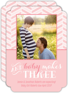 Pink Chevron Baby Makes Three Pregnancy Announcement