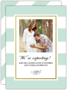 Classic Mint and Gold Stripe Pregnancy Announcement