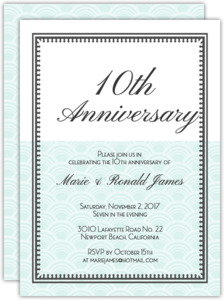 10th Anniversary Color Block Anniversary Party Invitation