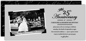Vintage Photo Frame Set Silver Anniversary Invitation