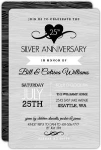Rustic Silver Anniversary Invitation