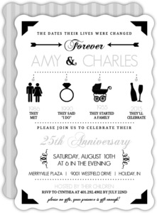 Black Modern Icons Silver Anniversary Invitation