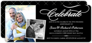Celebrate Silver Foil Photo Anniversary Party Invitation