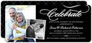 Celebrate Silver Foil Photo Anniversary Party Invitation