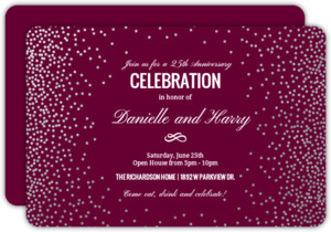 Silver Foil Confetti Anniversary Party Invitation