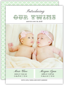 Mint Deco Pattern Twin Birth Announcement