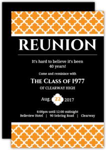 Black and Orange 40 Year Class Reunion Invitation