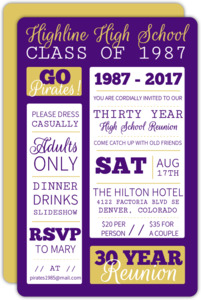 Poster Style Purple and Yellow Class Reunion Invitation