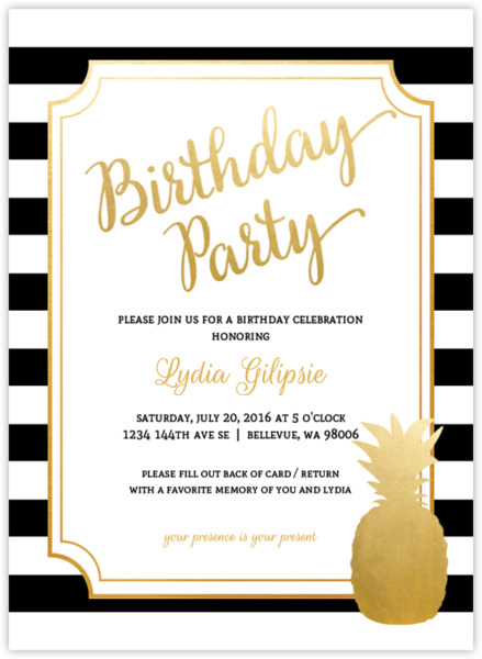 Modern Chic Pink Pineapple Birthday Party Invitation Adult