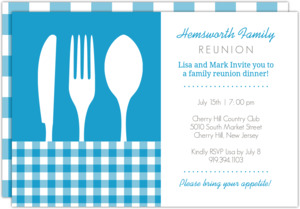 Blue Plaid Place Setting Family Reunion Invitation