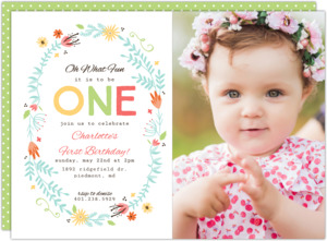 Floral Spring Frame First Birthday Invitation