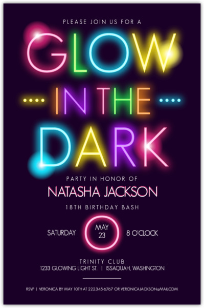 glow in the dark typography birthday party invitation | teen, Party invitations