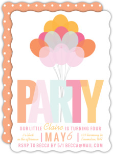 Playful Balloon Bouquet Birthday Party Invitation
